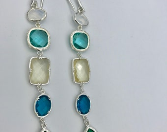 Aqua, blue, turquoise and sapphire crystal earrings, statement earrings,