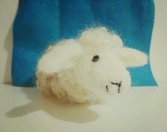Snow, needle felted sheep