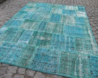 blue rug patchworks, large, vintage turkish runner, decorative patchwork rug, blue turkish rug vintage,