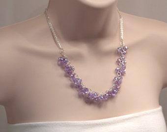 Lavender Crystal Necklace, Light Purple Crystal Charm Necklace, Lightweight Lilac Necklace, Purple Crystal Cluster Necklace (N571)