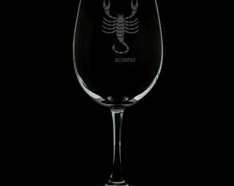 Scorpio 13 Ounce Personalized Wine Glass