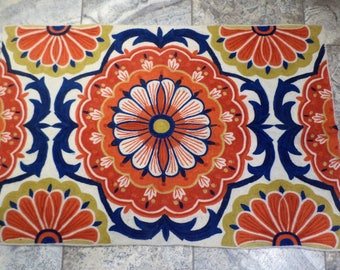Vintage Textile, Colorful Vibrant Needlepoint, Hand Made Carpet or Wall Hanger