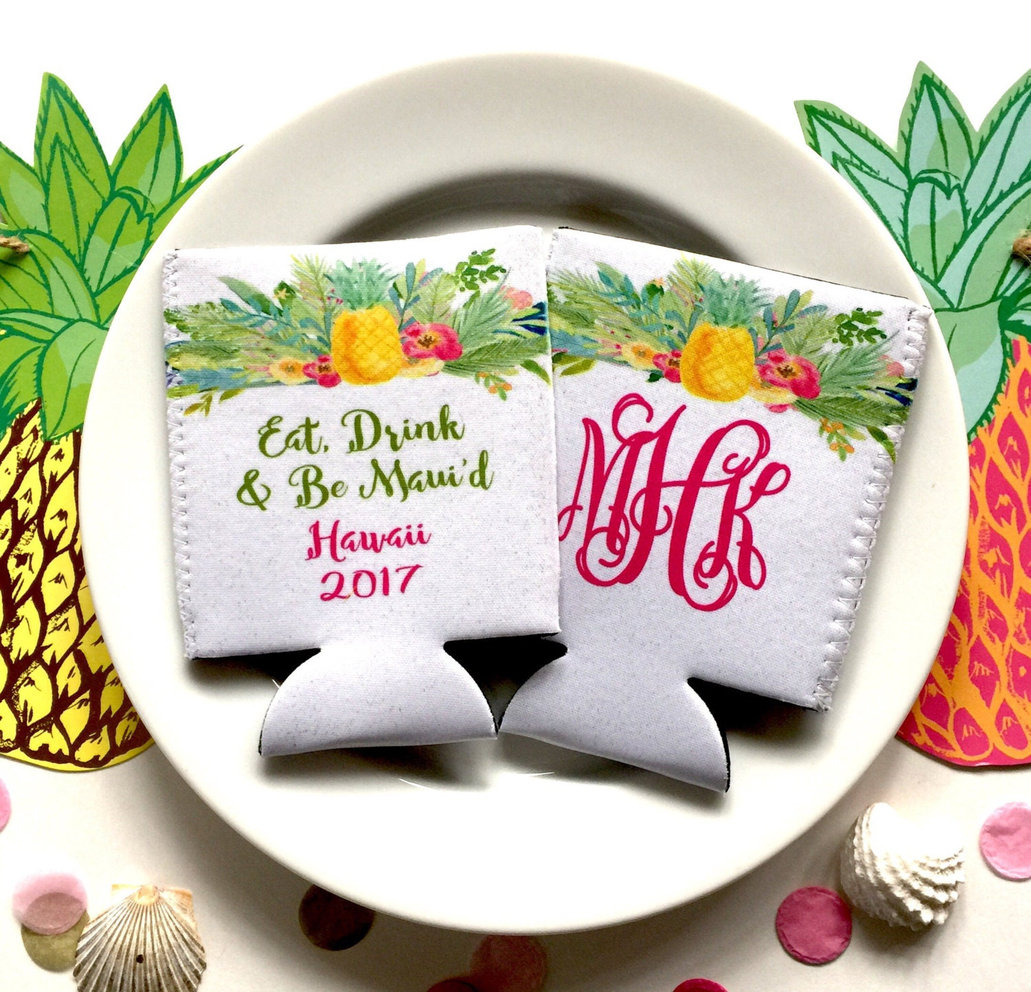Pineapple Vacation Huggers. Tropical Bachelorette Or Birthday