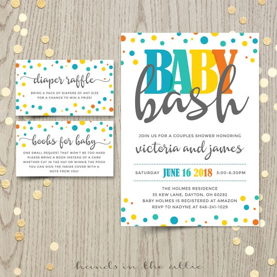 Baby bash couples co ed baby shower invitation card baby boy baby bash couples co ed baby shower invitation card baby boy shower invite gender neutral customized personalized printable digital filmwisefo Gallery