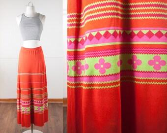 Psychedelic Maxi Skirt, Hippie Skirt, 60s Skirt, Sweater Skirt, Floral Skirt, Novelty Print Skirt, 70s Skirt, High Waist Skirt, Knit Skirt