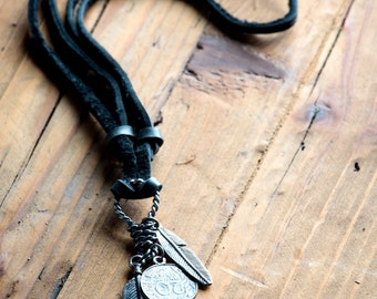 Leather Necklace For Men // Men Leather Necklace // Bohemian Necklace // Black Leather Necklace // Men's Pendant Necklace / Feather Necklace
