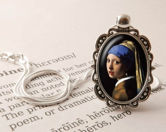 Girl with a Pearl Earring Pendant Necklace- Vermeer Necklace, Art Jewellery, Girl with a Pearl Earring Pendant, Johannes Vermeer Jewellery,
