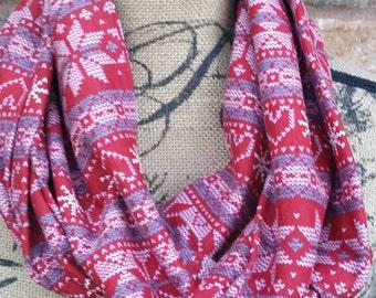 Fair isle scarf - fair isle infinity scarf - Christmas scarf - winter scarf - fashion scarf - red scarf - fair isle - circle scarf