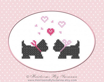 Scotties and Hearts - Scottie Puppies - Machine Embroidery Design - Machine Cross Stitch Design - Puppy Love - 5X7 - HBS-411