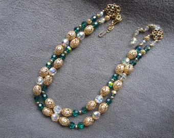 Double Strand Filigree and Crystal Adjustable Necklace 50s - 60s Vintage