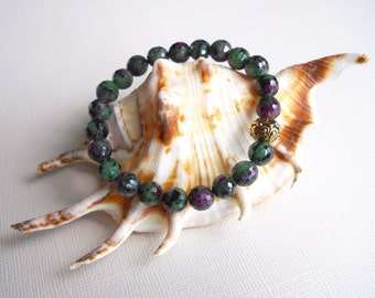 Ruby Zoisite Bracelet With Gold Plated Pewter Bead Made In Hawaii