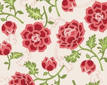 La Vie Boheme, Riley Blake Fabric C4740 Cream, Amanda Herring, Cottage Chic Fabric,  Deep Red and Pink Floral Cotton Quilt Fabric, Boho