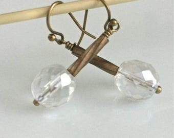 Clear Glass Earrings   Bohemian Earrrings   Clear Czech Glass