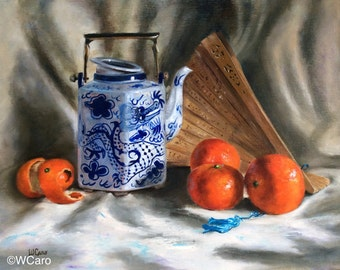 "Blue and white Teapot, mandarin oranges, 11x14"" framed original oil painting on linen"