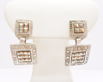 Genuine Sterling Silver Marcasite Accent Dangle Earrings #3435