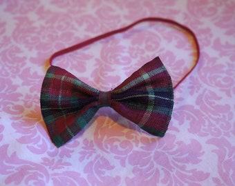 Red Plaid bow headband/ baby girl headband/ Newborn headband/ Girls headband