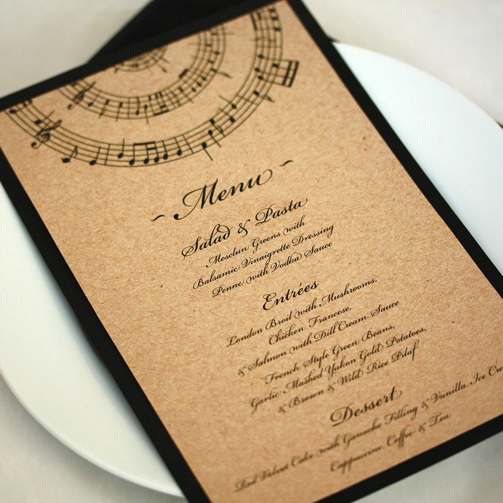Wedding Menu Music Note Dinner Menu DEPOSIT