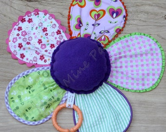 Flower Baby Rattle, Sensory Plush Toy, Purple, Pink and Green Patchwork, Flannel Lovey, with Teethin Ring, for Baby Girl