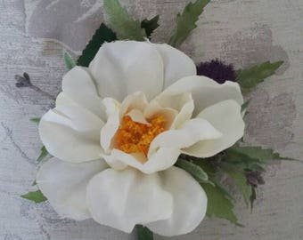 Custom order for Janice- Artificial Ivory Yorkshire Rose Buttonhole/ Boutonnière
