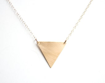 Minimalist Geometric Triangle Necklace -| Brass Necklace | 14k Gold Filled Necklace | Sterling Silver Necklace | Geometric Necklace