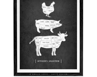 Traditional butcher kitchen print Butcher poster butcher cuts diagram traditional butcher print vintage butcher print butcher cuts print