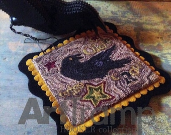 """Wise Olde Crow ~ 6"""" x 6"""" Paper Pattern for PUNCH NEEDLE by The Art Tramp/HOOKER Collection"""