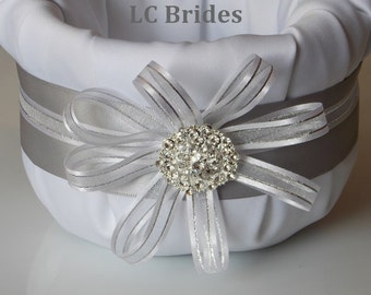 Silver Grey Rhinestone Brooch Flower Girl Basket