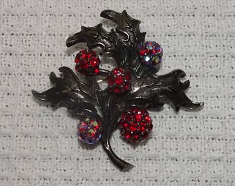 Vintage Christmas Holly Berry Red Rhinestone Brooch Pin