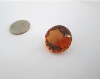 Sale, Luxe AAA Orange Citrine, Single Pendant Focal, Fancy Golden Citrine, Round Disc, Concave