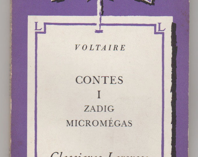 1939 Contes I; Zadig; and Micromegas, Paperback Book, Voltaire. VF. Librairie Larousse