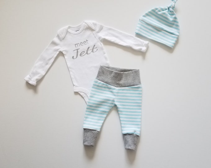 Featured listing image: Personalized Baby Boy Coming Home Outfit. Newborn Boy Coming Home Outfit. Personalized Coming Home Outfit Boy. meet _____ Baby Name Reveal.