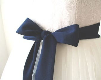 Navy sash, bridesmaid sash, chiffon sash, navy belt, long sash, wide sash, dress sashes, bridesmaid sashes, party sash, dress sash
