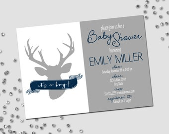 Deer Baby Shower Invitation - Oh Deer Baby Shower - Navy Blue White and Grey - Printable