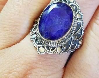 Sapphire Ring size 7.5, Sterling Silver Sapphire Ring, Blue Sapphire Ring, Boho Ring, Statement Ring, September Ring, September Birthstone
