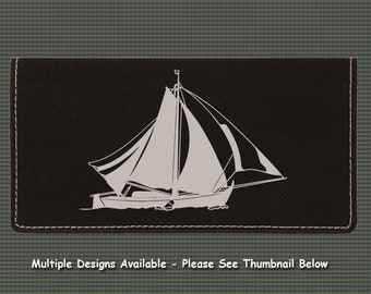 Engraved Leatherette Checkbook Cover - Sailboat Designs