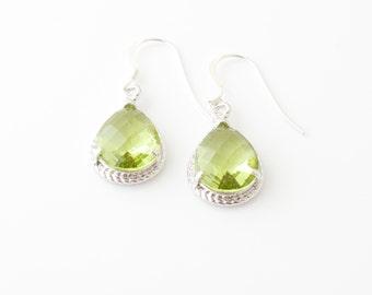 Peridot Earrings, Peridot Tear Drop, August Birthstone, Peridot Jewelry, Wedding Jewelry, Birthstone Earrings, Sterling Ear Wires