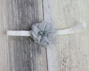 Silver Vintage Tulle Flower Headband Photo Prop
