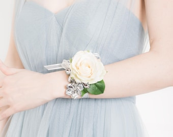 Prom Corsage - Wedding Corsage - Wrist Corsage - Rose & Silver Flower Corsage, Ivory Corsage, Silk Flower Corsage - Prom Corsages
