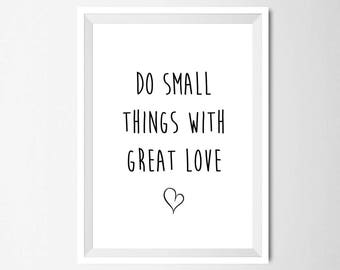 Do Small Things With Great Love Wall Art, Printable Minimalist Decor, Cute Nursery Quote Print, Instant Download