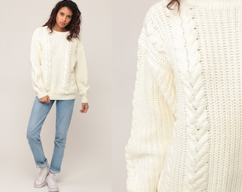 Cream Cable Knit Sweater 80s Slouchy Knit Hipster Boho Pullover Cableknit Off-White 1980s Jumper Chunky Cozy Vintage Grunge Extra Large Xl