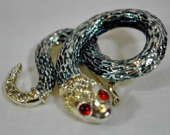 Coiled Snake Brooch with Red Eyes - Rhinestones on the Head and Tail Blue - Textured Blue Body