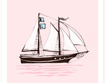 Children's Wall Art Print - Set Sail (PINK) - Kids Nursery Room Decor