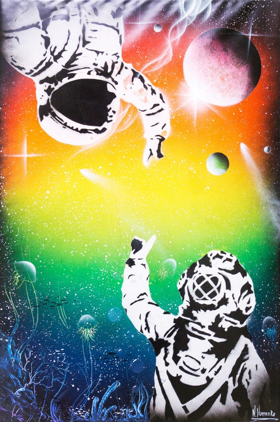 Between two worlds Spray paint art Space art Space man