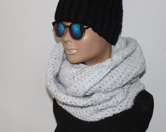 Grey Hand Crocheted Cowl Neck Scarf, Chunky Cowl, Infinity