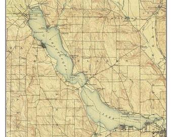 Chautauqua Lake - 1904 USGS Old Topographic Map   Custom Composite reprint -Lake Erie - New York