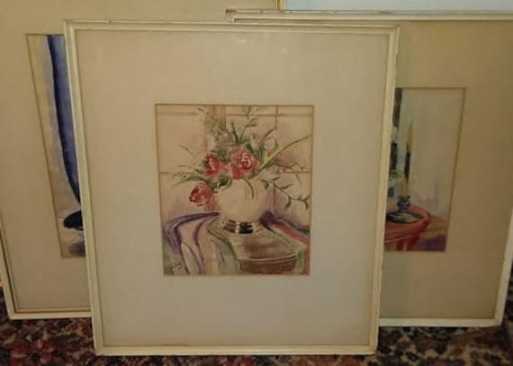 FREE SHIPPING-Nathalie Yehling-Signed-1930's-Floral-Still Life-Watercolor-Listed St. Louis Missouri Artist-1937