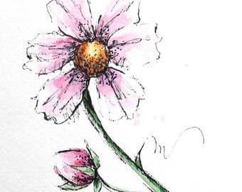 Pink Cosmos Flower Original Watercolor Art Painting Pen and Ink Watercolor Hand Painted Flower