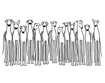 DIGITAL DOWNLOAD - Printable Greyhound Art, Greyhound Download, Black and White Greyhound, Greyhound Drawing, Greyhound Adoption