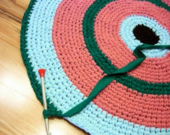 Rag rug, 120 cm, Round Rug, Crochet Rug, Cotton rug, Pet friendly, Custom colors