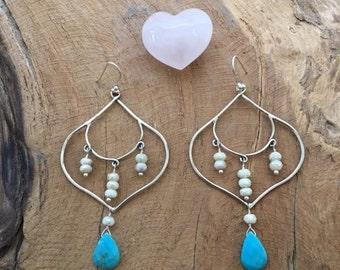 Sleeping Beauty Turquoise Earrings | Mystic Sapphire Earrings | Chandelier Earrings | Gemstone Earrings | Bohemian Earrings